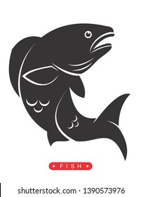 red drum fish vector, with a silhouette feel