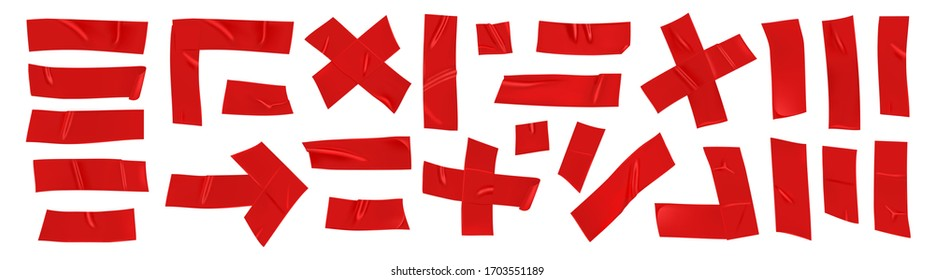 Red duct repair tape set isolated on white background. Realistic red adhesive tape pieces for fixing. Scotch arrow, cross, corner and paper glued. Realistic 3d vector illustration