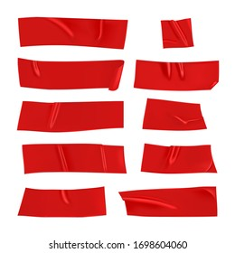 Red duct tape set. Realistic red adhesive tape pieces for fixing isolated on white background. Paper glued. Realistic 3d vector illustration