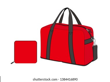 red duffle bag with removable shoulder strap, sports gym bag, foldable weekend bag, spare bag, vector illustration sketch template isolated on white background