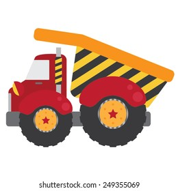 Red Dump Truck | Whimsical red construction dump truck with yellow and charcoal gray stripes and fun stars on the wheels.
