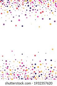 Red Dust Confetti Frame. Dot Bright Wallpaper. Orange Round Surprise. Circle Pink Design Illustration.