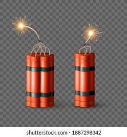 Red Dynamite Bomb with Burning Wick. Military Detonate Weapon. Isolated vector
