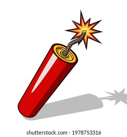 Red dynamite stick icon with burning fuse and shadow isolated on white background. Vector illustration