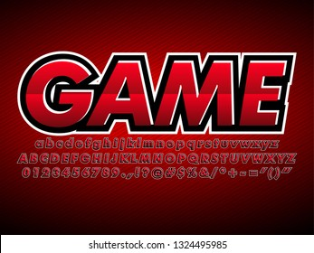 red e sport logotype, gaming team logo design, modern game font  with dark red style