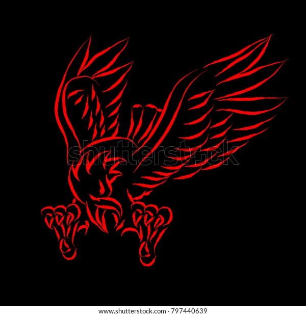 Stokovaya Vektornaya Grafika Red Eagle Black Background Linocut Style Bez Licenzionnyh Platezhej 797440639