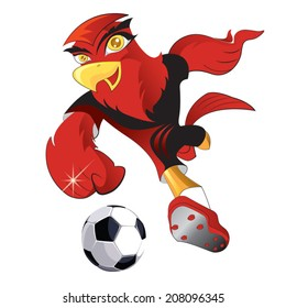 Red eagle, Soccer player kicking ball