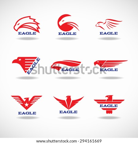 Red Eagle vector logo set design