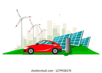 A red electric car charging at the charger station against the background with wind turbines and solar panels . Electromobility e-motion concept.Flat vector illustration.