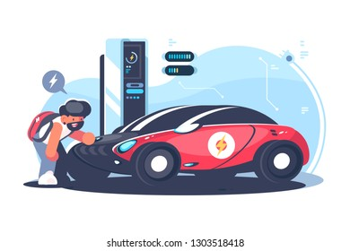 Red electric car charging at the charger station flat vector illustration. Young man standing near cool transport. Technology concept. Isolated on white background