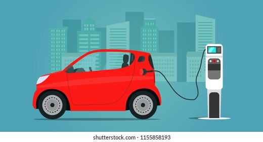 Red сompact electric car. Electric car is charging, side view. Vector flat illustration