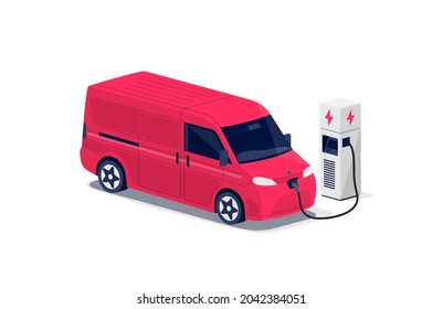 Red electric cargo van charging parking at the charger station with a plug in cable. Isolated flat vector of shipping truck lorry logistic freight car. Electrified transportation delivery e-motion.