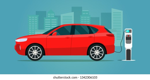 Red electric compact CUV isolated. Electric car is charging, side view. Vector flat illustration. Vector flat style illustration.