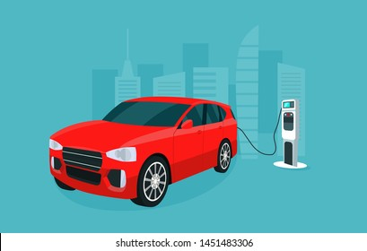 Red electric compact CUV isolated. Electric car is charging, isometric view. Vector illustration.