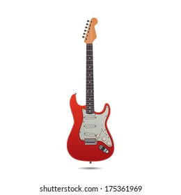 Red Electric Guitar isolated on white background