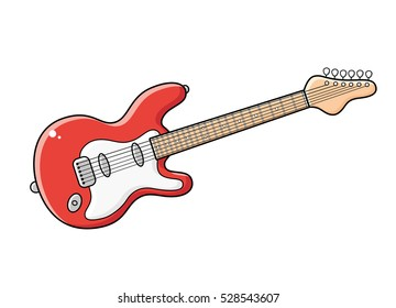 Red electric guitar vector isolated.