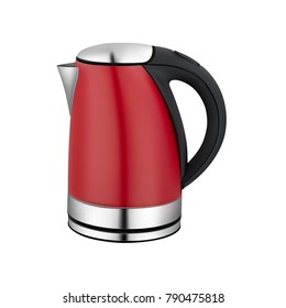 Red electric kettle. Vector illustration.