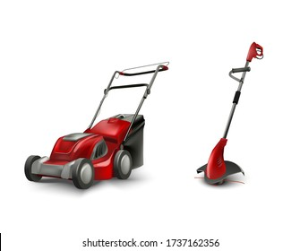 red electric lawn mower and trimmer for garden gazon. Vector lawn mowing machine.