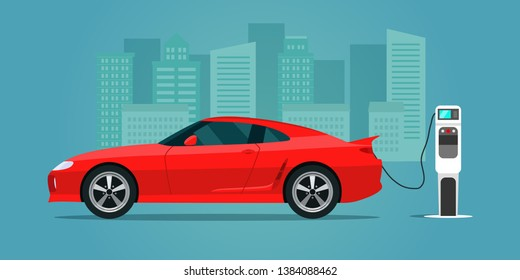 Red electric sportcar isolated. Electric car is charging, side view. Vector flat style illustration.