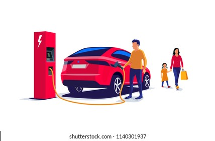 Red electric suv family car charging at the charger station. Father holding the cable and mother with child coming from shopping. Isolated flat vector illustration on white background.