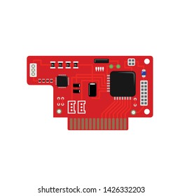 Red electronic mini board with a micro-controller, LEDs, connectors, and other electronic components.