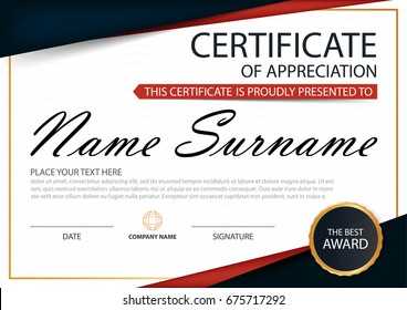 Red Elegance horizontal certificate with Vector illustration ,white frame certificate template with clean and modern pattern presentation