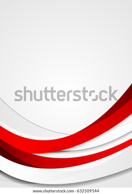 Red elegant corporate waves abstract background. Vector flyer design