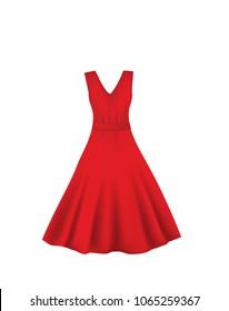 Red elegant dress. vector illustration