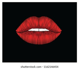 red embroidery lips Decorative pattern lips stylized texture of embroidery, imitation of ornamental satin stitch. Vector pattern for printing on fabric, clothes, t-shirt.