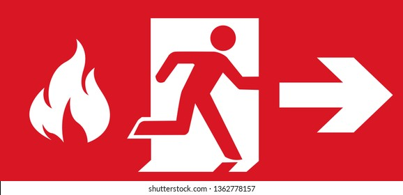 Red emergency fire exit sign.