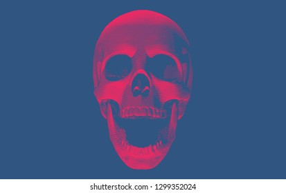 Red engraving drawing skull open mouth with bottom lighting isolated on deep blue background