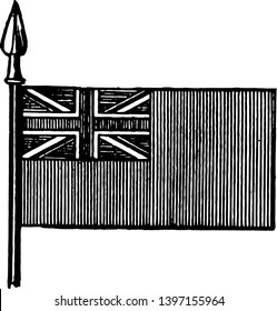 The Red Ensign is the flag of the British merchant service, this flag has cross superimposed on saltire in square in top left corner of the flag, vintage line drawing or engraving illustration