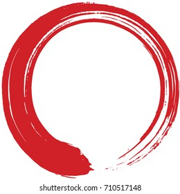 Red Enso Zen Circle Brush Vector Illustration Painting