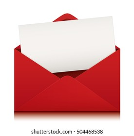 Red envelope with blank card. Vector design.