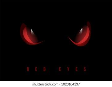 Red evil eyes on black background, vector illustration