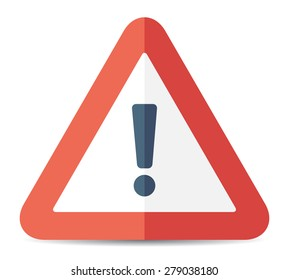 Red exclamation danger sign. Vector