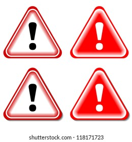 Red exclamation sign, danger signs. Isolated vector.