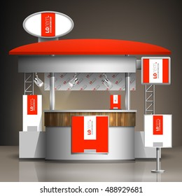 Red exhibition stand design with white vertical shape. Booth template. Corporate identity