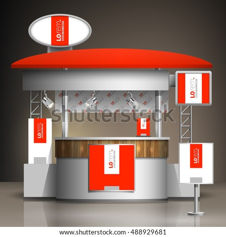 Exhibition Stand White : Red exhibition stand design white vertical stock vector royalty