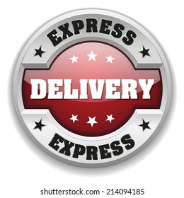 Red express delivery button with metallic border on white background