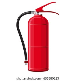 Red extinguisher with hose. Safety fire-fighting equipment. Firefighting equipment and fire protection. Master vector illustration, isolated on white background.