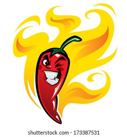 Red extremely hot mexican cartoon chilli pepper character on fire smiling and making a devious face