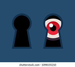 Red eye looking through keyhole. Scary stalker watching at door, horror concept vector illustration.