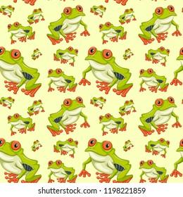 Red eyed tree frog seamless pattern illustration