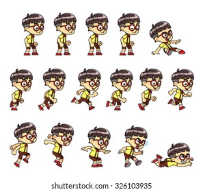 Red Eyeglasses Smart Boy Game Sprites Red eyeglasses smart boy game sprites for side scrolling action adventure endless runner 2D mobile game.