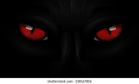 red eyes black Panther on dark background