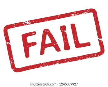Red fail stamp. Grunge ink texture rubber stamp print frame with fail word tag or declined failed text. Screw up defeat words, rejected denied isolated vector illustration