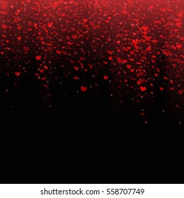 Red falling hearts. Valentines Day design. Vector illustration