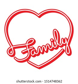 red family word and heart symbol. handwritten family word and heart symbol logo