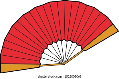 Red fan, illustration, vector on white background.